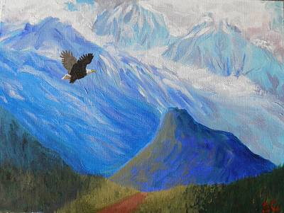 Painting - Soaring Around The Chugachs Alaska by Sharon Casavant