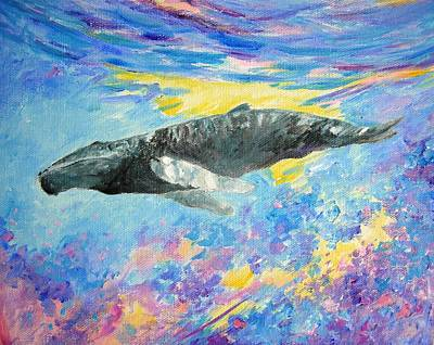 Liberation Painting - Soaring Whale by Tamara Tavernier