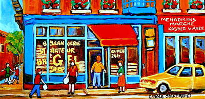 Jewish Montreal Painting - Soccer At The Bagel Shop Lane  Montreal Summer Scene by Carole Spandau