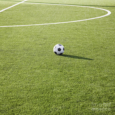 Soccer Ball On Soccer Field Print by Jetta Productions, Inc