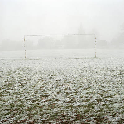 Y120831 Photograph - Soccer Goal In Frosty Field by Laurie Castelli