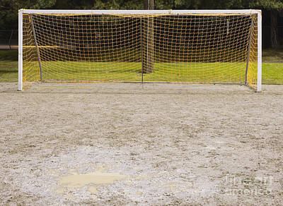 Soccer Net On Dirt Field Art Print by Andersen Ross