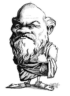 Socrates, Caricature Art Print by Gary Brown