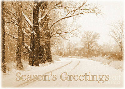 Snowy Roads Photograph - Soft Sepia Season's Greetings Card by Carol Groenen