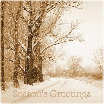 Winter Roads Photograph - Soft Sepia Season's Greetings by Carol Groenen