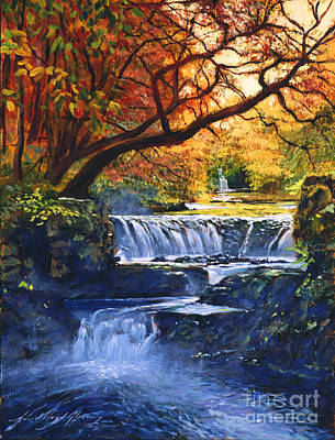 Vivid Fall Colors Painting - Soft Sounds Of Water by David Lloyd Glover