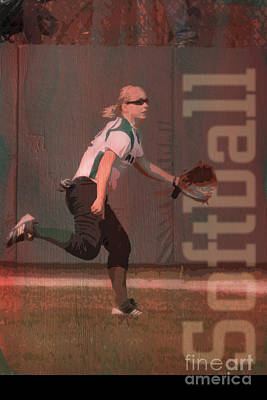 Softball Mixed Media - Softball Outfielder by John Turek