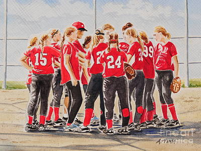 Mixed Media - Softball Season by Andrea Timm