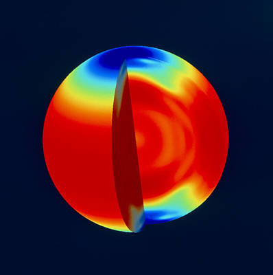 Whole Sun Photograph - Soho Image Of Solar (sun) Rotation Rate With Depth by Nasa