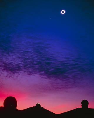 Solar Eclipse Over Mauna Kea Observatory Art Print