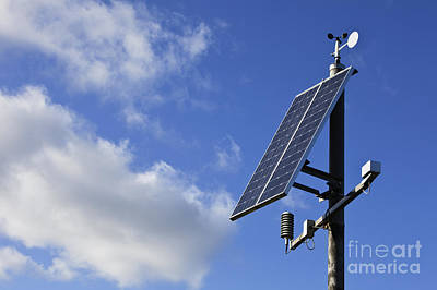 Anemometer Photograph - Solar Panels And Sky by Jon Boyes