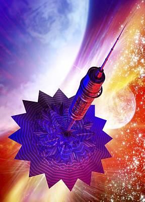 Solar Power Digital Art - Solar Sail Spaceship, Artwork by Victor Habbick Visions
