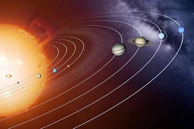 Solar System Orbits, Artwork Art Print by Detlev Van Ravenswaay