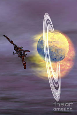 Jet Star Digital Art - Solar Winds Hit A Ringed Planet by Corey Ford