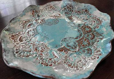 Sold Turqouise Blue Lace Plate Large Original by Amanda  Sanford