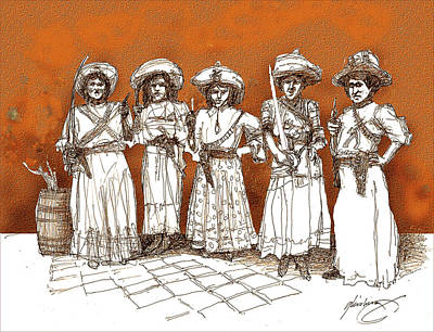 Drawing - Soldaderas Mexicanas by Dean Gleisberg