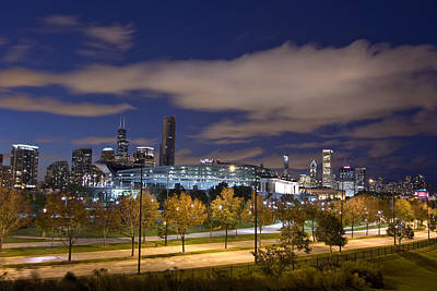 Soldier Field Digital Art - Soldier Field And Chicago Skyline by Mike Thompson