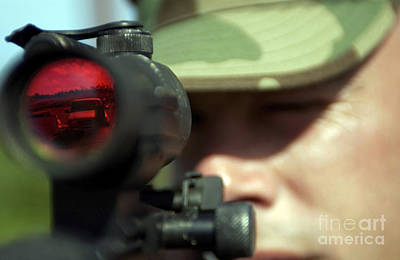 Telescopic Image Photograph - Soldier Provides Protection by Stocktrek Images