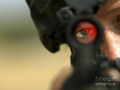 Telescopic Image Photograph - Soldier Sights In On Pop Up Targets by Stocktrek Images