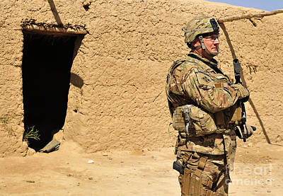 Soldier Stands Guard During A Routine Art Print by Stocktrek Images