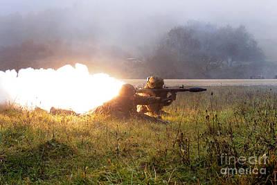 Soldiers Fire A Rocket Propelled Art Print