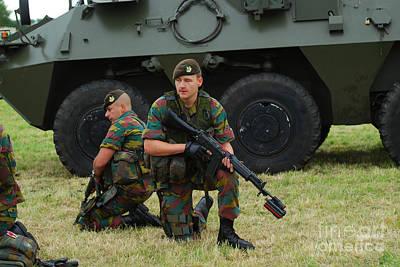 Soldiers Of An Infantry Unit Art Print by Luc De Jaeger