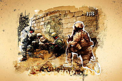 Armed Forces Mixed Media - Soldiers On The Wall by Jeff Steed