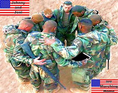 soldiers Praying Art Print by Terri Mertz