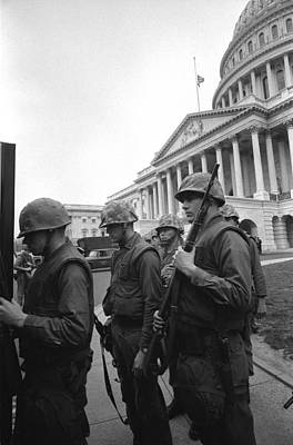 Soldiers Stand Guard Near Us Capitol Art Print by Everett