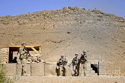 Soldiers Wait For Afghan National Art Print by Stocktrek Images