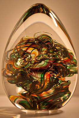 Paper Weight Glass Art - Solid Glass Sculpture E1p by David Patterson