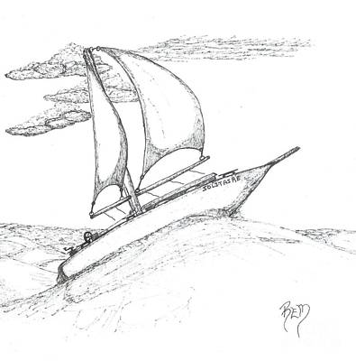Drawing - Solitude - Sketch by Robert Meszaros