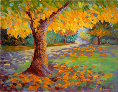 Sycamore Painting - Solstice Glow by Karin  Leonard