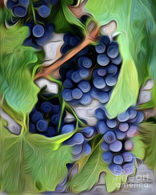 Purple Grapes Digital Art - Soon To Be Napa Wine by Judy Brand