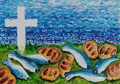 Loaves And Fish Painting - Soul Food by Caroline Street