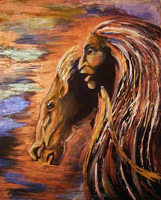 Art Print featuring the painting Soul Of Wild Horse by Karen  Ferrand Carroll