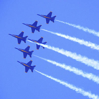 Souring With The Blue Angles Art Print by Mike McGlothlen
