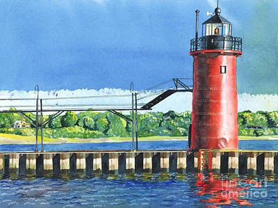 Painting - South Haven Lighthouse by LeAnne Sowa