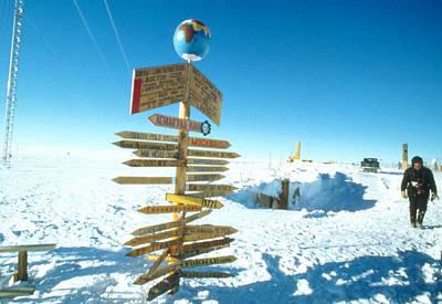 Earth Based Photograph - South Magnetic Pole Near Vostok Base by Ria Novosti