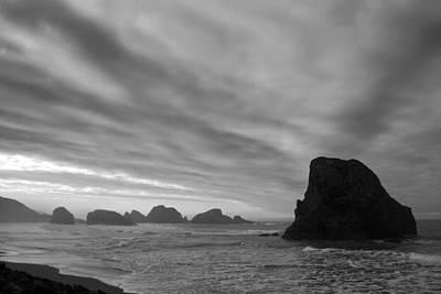 South Oregon Coast Black And White Art Print
