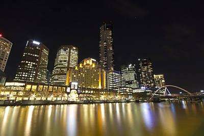 Southbank Melbourne At Night Art Print by Douglas Barnard