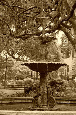 Photograph - Southern Fountain II In Sepia by Suzanne Gaff