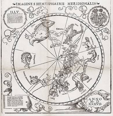 Southern Hemisphere Star Chart, 1537 Art Print by Middle Temple Library