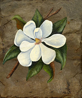 Slate Painting - Southern Magnolia by Elaine Hodges