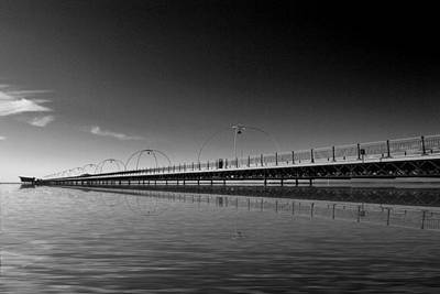 Sun Moon And Sky Photograph - Southport Pier Reflections  by David French