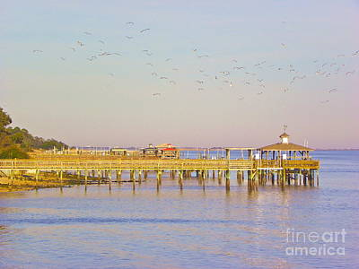 Art Print featuring the photograph Southport Piers by Eve Spring