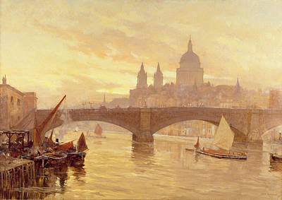 Sunset Painting - Southwark Bridge by Herbert Menzies Marshall