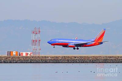 Southwest Airlines Jet Airplane At San Francisco International Airport Sfo . 7d12089 Art Print
