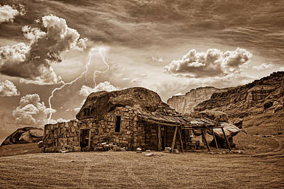 Southwest Indian Rock House And Lightning Striking Art Print by James BO  Insogna