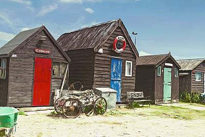 Digital Art - Southwold Fishing Huts by Ian Merton